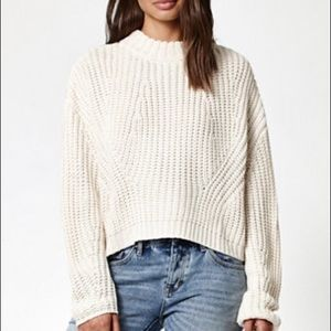 Kendall & Kylie Knit Cream Cropped Chunky Sweater
